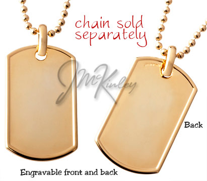 Rolled edge gold plated dog tag chain sold separately