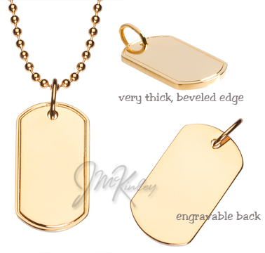 Small size gold plated dog tag  Measures 1116w x 1 14h x 2mm d