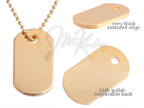 Medium size thick gold plated dog tag  Measures 78w x 1 12h x 3mm d