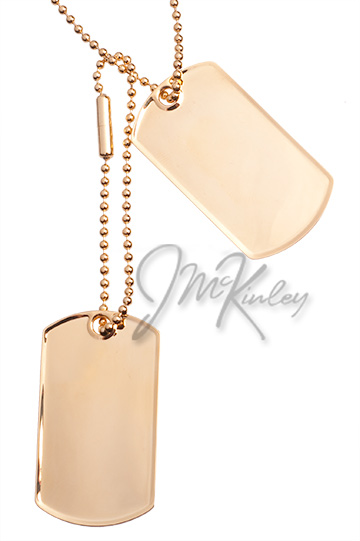 Set of 2 gold plated dog tags Measures 1 18w x 1 1516h x 2mm d
