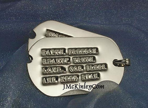 embossed gold dog tags