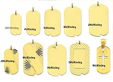14k gold small and medium dog tags